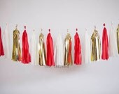Ivory, Gold, Red Tassel Garland,  Red Gold Garland, Red Gold Wedding Garland, Red Gold Bridal Shower, Red Gold Engagement, Red Gold Nursery