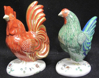 Chantilly Limoges Decor A La Main France Hen and Rooster Figurines