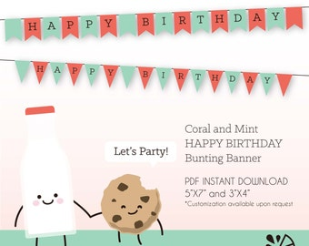Coral and Mint Happy Birthday Bunting Banner Printable INSTANT DOWNLOAD