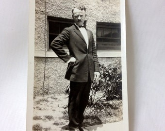 1920s Black and White Photograph of Man in Suit in Washington DC USA - one of a kind  4.5 x 2.75 inches