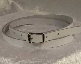 White leather belt with 1/2 inch nickel buckle Made to Order