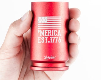 American Flag Shot Glass. Bullet Shot Glass. 30MM Shot Glass made from A-10 Warthog GAU 8 Shell 'MERICA EST. 1776 in Red
