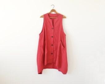 Vintage red vest dress / pink red vest / asymmetrical dress