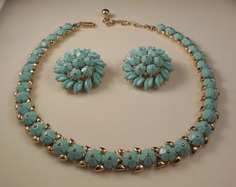 Vintage 1950s Crown Trifari Floral Summer Turquoise Thermoset Trifanium Forget Me Not Necklace Clip Earrings Demi Parure