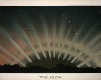 Etienne Leopold Trouvelot: Aurora Borealis. (The Trouvelot Astronomical Drawings 1882) Astronomy/Space Print/Poster (00100)