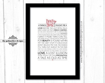 Things Beauty And The Beast Taught Me - Disney Typography Print - Quotes & Lyrics - PRINT