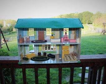 Vintage Tin Litho Dollhouse with Furniture