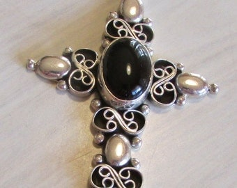 Sterling Silver and Black Onyx Cross Pendant from Mexico
