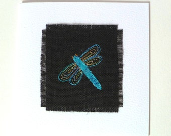 Dragonfly greetings card. Handmade card with embroidered dragonfly design. On black linen and white card. Blank inside. Made in the UK.