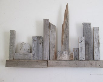 Barnwood art abstract city scape