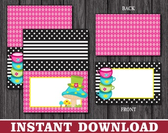Alice in Wonderland Tent Cards - Mad Hatter Tea Party Buffet Cards - Food Labels - Place Cards - Printable Digital File - INSTANT DOWNLOAD