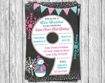 Winter Birthday Invitation - Winter 9th Birthday Invitations - Snowflake & Chalkboard - Ninth Birthday Invitation