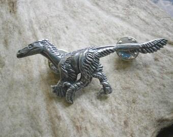Velociraptor Dinosaur Pin, Badge, Brooch, Pewter