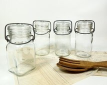 Batch of 4 Clear glass Jars Bottles canister cap lid, French Vintage Preserving, Mason canning jar container pot terrine pot cottage kitchen