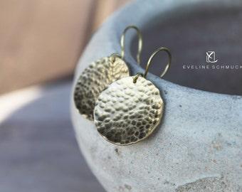 Gold earrings  lunar hammered circles earrings