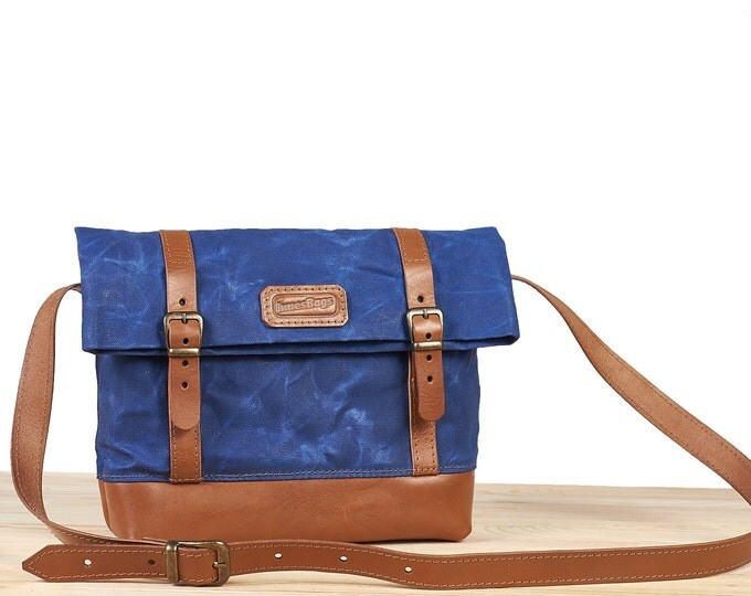 Waxed canvas crossbody bag.  Blue waxed canvas bag. Small crossbody bag. Womens canvas bag.