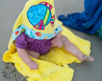 Fish Hooded Towel/ Beach Towel/ Bath Towel/ Fish/ Sleepy Fish ,embroidery design, towels for kids, towel for baby, pool