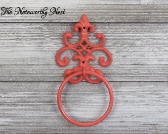 ANY COLOR Scroll Towel Ring // Towel holder // cast iron towel // towel ring // bathroom decor // coral decor // kitchen decor