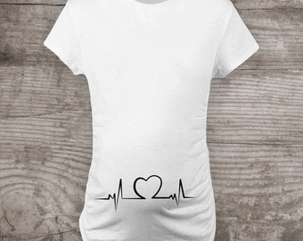 Maternity t-shirt Pregnancy Announcement heartbeat love gift for her new baby mommy to be-a346