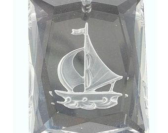 A rare Vintage Swarovski etched boat pendant.  Price is for 1 pendant