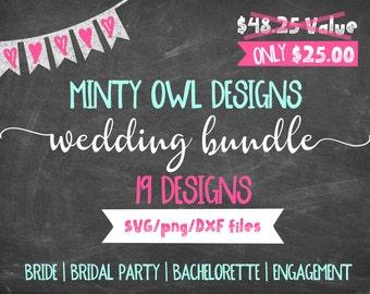 Wedding - Bridal - Bachelorette - Engagement SVG/DXF/PNG Bundle Cut File Set - Bride - Future Mrs - Cricut - Silhouette - Instant Download