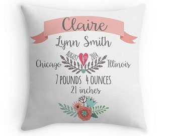Personalized baby gifts etsy birth announcement pillow personalized baby pillow baby gift girl nursery decor pink negle Images