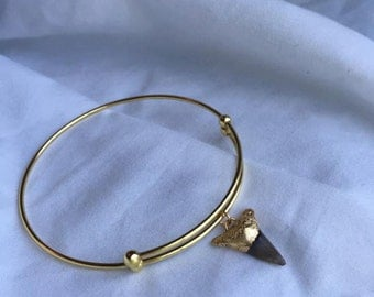 Gold Dipped Shark Tooth Bangle