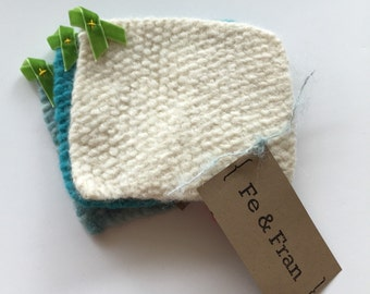 Set of 3 Coasters Wool Knitted Coaster Felted Wool Coaster Knit Coaster Set Hostess Gift Under 20 Gift Felted Coasters