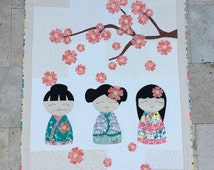 Adorable My Kimono Girls Quilt Kit Perfect for the Little Girl in your Life.  Fun and Easy Fusible Applique even for the Beginner Quilter!