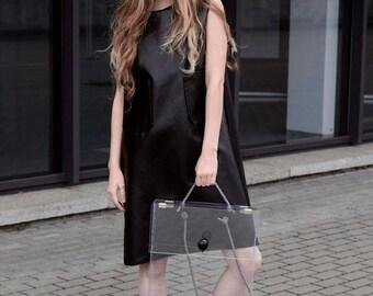 ON SALE Dress- black dress- women dress- faux friendly leather dress- bell sleeveless dress