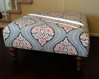 Upholstered Ottoman Coffee Table - Red and Grey Fabric