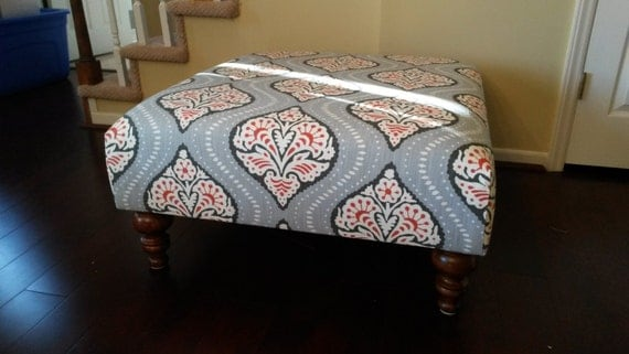 Upholstered Ottoman Coffee Table Red And Grey Fabric