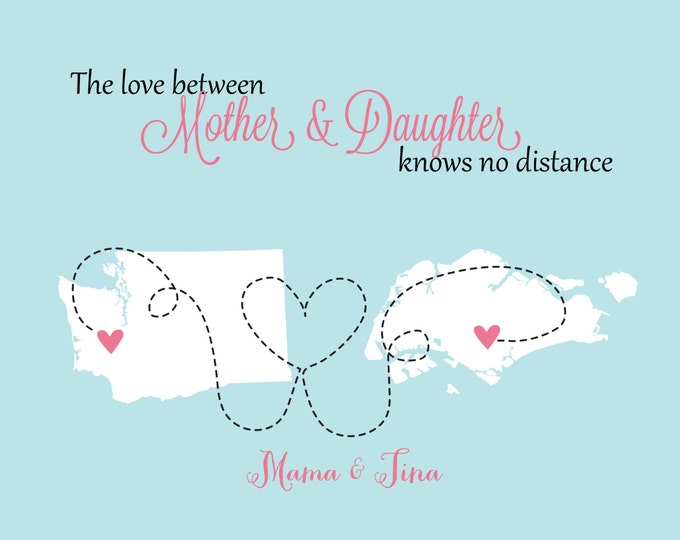 Mother's Day Gifts For Mom From Daughter Mothers Day Print Family, Mom, Dad, Sister, Best Friend Art Print Map Christmas Gifts Singapore