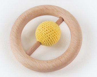 Rattle Teething Ring, Wooden Crocheted Baby Teether, Organic Baby Toy, Montessori Baby Toy with Ball, Waldorf Teething, First Tactile Toy