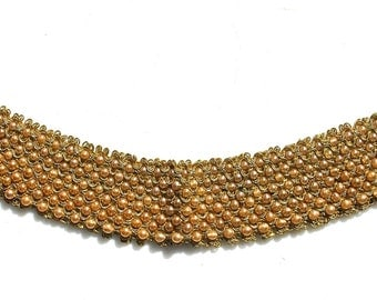 Vintage Pearl And Gold Crochet Collar