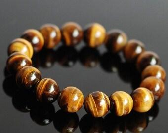 ON SALE Handmade 12mm Brown Tiger Eye Bracelet Healing Gemstone Men Women DiyNotion BR046
