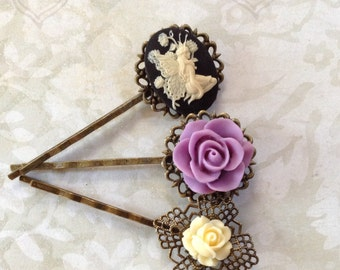 Fairy And Lavender Rose Hair Clips