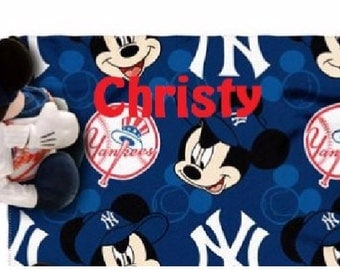 Baseball  New York Yankees Fleece Throw Blanket & Mouse Hugger - Personalized