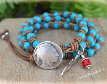 Native American Hand Crafted Leather And Turquoise Wrap Bracelet, Beaded Leather Wrap.