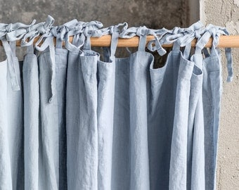 Bluish grey. Washed linen curtains/ linen drapes in bluish grey