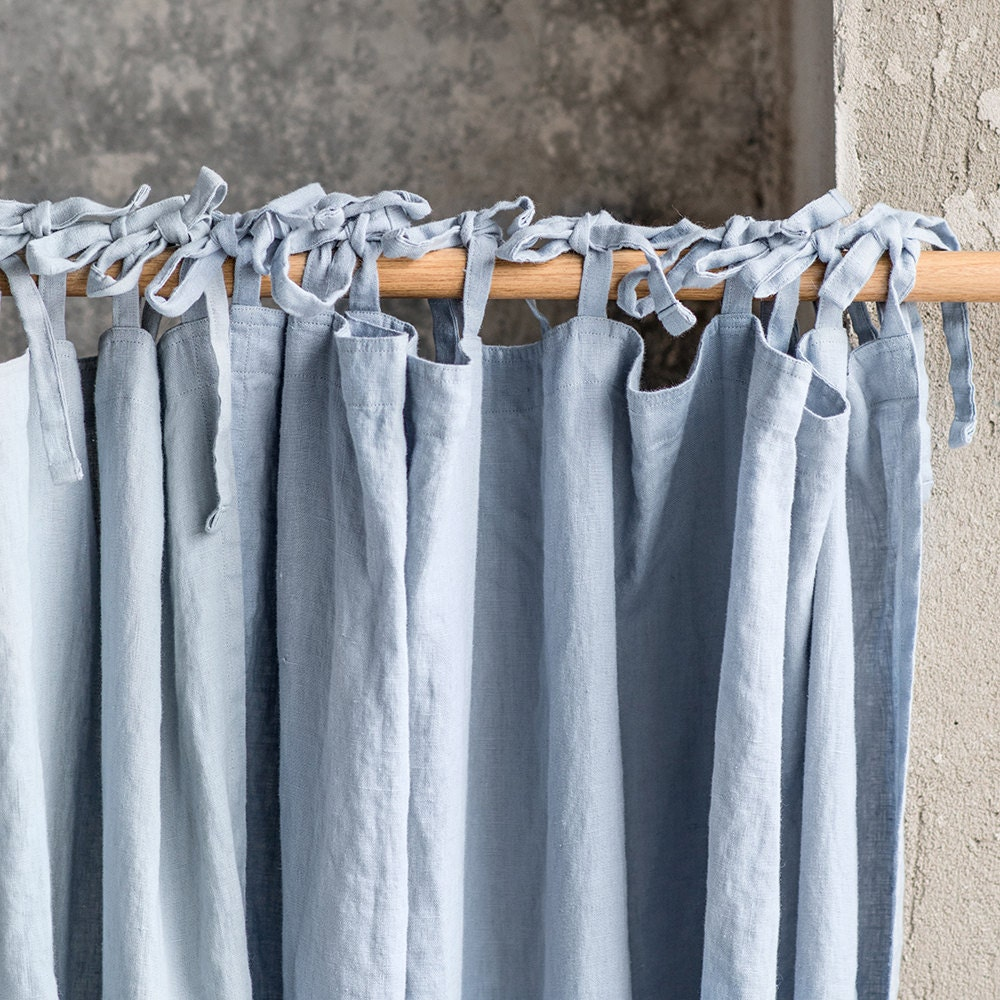 Open window with curtains blowing - Washed Linen Curtains Linen Drapes In Bluish Grey