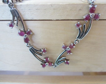 Sterling Silver Ruby Necklace, Silver Jewellery, July Birthstones