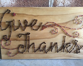 Give Thanks Fall Thanksgiving Holiday Decor String Art Wood Sign