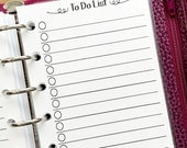 Pocket To Do checklist planner printed insert - lined paper - check it off - refill insert - #339