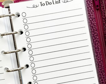 Pocket To Do checklist planner printed insert - lined paper - check it off - refill insert
