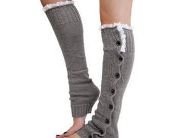 Leg Warmers Black or Gray with lace and button