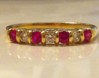 Vintage Diamond and Ruby Ring in 14K Gold