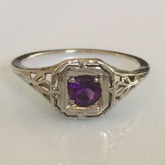 deco amethyst ring in 14k white gold filigree circa 1920