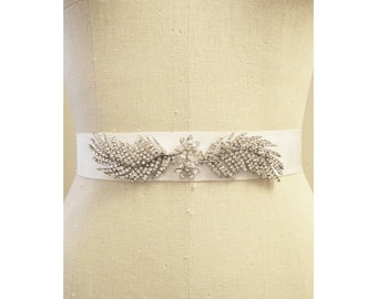 Vintage Bridal Grossgrain and Rhinestone feather Bridal Sash