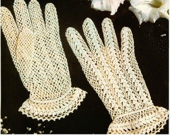 Crochet Gloves Pattern Crochet Lace Gloves Pattern Vintage Crochet Fishnet Gloves Pattern Crochet Bridal Gloves Pattern